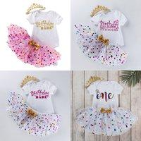 3 قطعة توتو اللباس البدلة الطفل عيد رسالة جميلة الكاكي دوت الأميرة تنورة رومبير تاج أغطية الرأس ملابس الطفل 31FK K2
