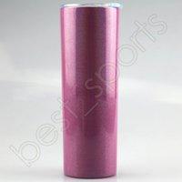 20 Unzen Glitter Sublimation Tumblers 7 Farben Edelstahl Glitter Wärmeübertragung Becher mit Deckel und Kunststoff Stroh SEEverschiffen CCA12617