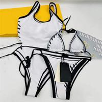 Moda Harfler Baskılı Kadınlar Mayo Yüksek Bel Elastik Bayan Bikini Set Seksi Backless Bayanlar Yüzme Mayolar