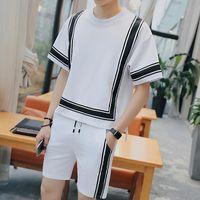 Pista Vintage Suit Casual Verão Jogger Curto Sweatpant Hip Hop Mens Set Contraste Quadrado Sportwear terno dos homens Preto Branco