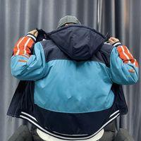 남성용 재킷 코튼 패딩 캐주얼 중간 스타일 후드 의류 대비 색상 Womens 디자이너 코튼 패딩 된 옷 패션 아플리케 코트 겉옷