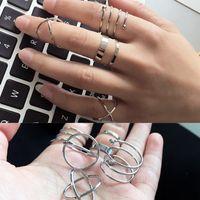 New European and American Vintage Esagerato Anello congiunto anello 6 Set di Modo di fornitura di anello in metallo geometrico creativo