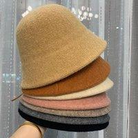 Зимняя церковная шерстяная шерстяная вязаная рыбака шляпы женские японский корейский стиль модный шерстяной шапки 2020 новая панамская ковша