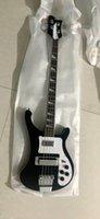 Vente en gros sur mesure nouvelle 4003 basse 4 cordes basse électrique à double prise guitare noir, livraison gratuite