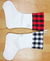 Sublimación en blanco Stock de Navidad Buffalo caliente Adornos de tela escocesa Calor térmico Medias blancas Regalo Bolsa de caramelo ORNAMENTOS D102903