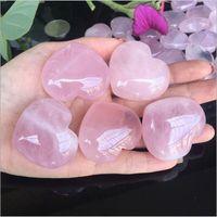 Natural al quarzo al quarzo rosa a forma di cuore rosa cristallo intagliato palma amore cura cura della pietre preziose amante Gita pietra cristallo gemme cuore gemme