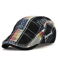2020 nuevas gorras Newsboy Casual Cap de bordado delantero irregular de la boina a cuadros costura sombrero al aire libre de algodón mujeres de los hombres de alta calidad