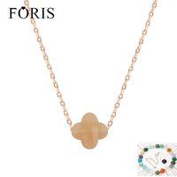 Foris marca jóias moda linda quatro folha trevo rosa ouro colar de cristal para namorada presente 15 cores pn036 y1220