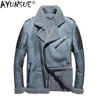 Veste en cuir pour hommes Ayunsue hiver cuir véritable cuir véritable manteau de peau de mouton pour hommes manteau de fourrure de laine naturelle blouson Cuir Homme KJ1414