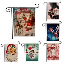 عيد الميلاد شنقا العلم الكتان سانتا باب راية مرح عيد الميلاد في الهواء الطلق زخرفة زينة عيد الميلاد للمنزل هدية السنة الجديدة WY1145