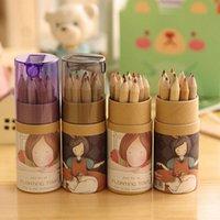 14pcs / 세트 12 컬러 연필 세트 귀여운 드로잉 나무 연필 아이들을위한 아트 용품 선물 Kawaii 학교 편지지 세트