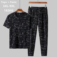 Summer Man Clothes Set 2 Two Piece Top and Pants 2019 Tracksuit Men Sets T Shirt Plus Size 6XL 7XL 8XL 9XL Sports Mens Camiseta Q1110