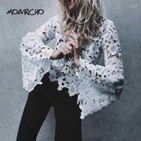 Moarcho Flare рукав белый кружева женская блузка с длинным рукавом O-образным вырезом сплошной блуза 2018 новая весна сексуальная полая тонкий пуловер Tops1