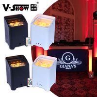 V- تظهر 4 قطع البطارية اللاسلكية dmx wifi عن led الزفاف uplight 6x18 واط rgbwauv 6in1 par dj disco المرحلة ضوء