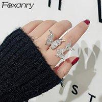 حلقات العنقودية foxanry ins موضة 925 فضة للنساء الإبداعية بسيطة تألق الزركون فراشة أنيقة العروس مجوهرات هدايا