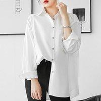 Yeni Varış Kore Tarzı Rahat Yaz Bluz Kadın Moda Gevşek Temel Mizaç Uzun Kollu Zarif Şifon Gömlek