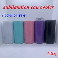 DIY Heat Sublimation Can Cooler 12oz Slim Straight Can Insulator Blank Skinny Double Wall Stainless Steel Vacuum Cooler DIY Gift YFA2636