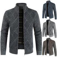 Sfit 2020 Мужские свитера кардигана осени Стенд Воротник Zipper Вязаная вскользь Sweatercoat пальто Мужчины Теплая одежда руно вязать