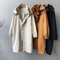 Женские траншеистые пальто Sherhure 2021 осень женские пальто мода бренд с капюшоном хлопчатобумажные длинные топы Casaco Feminino для верхней одежды1