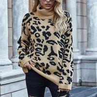 Weibliche pullover beiläufige top weibliche leopard rollsteck pullover frauen beiläufig lose gestrickte pullover winter dick langer sleeve