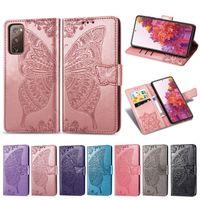 PU الغلاف جلدية الهاتف لسامسونج غالاكسي S20FE زهرة الفراشة مع كليب فتحة اليد بطاقة الشريط (نموذج: S20FE)