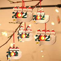 2020 الحجر الصحي عيد الميلاد زخرفة متوهجة شجرة عيد الميلاد الديكور خشبية محظوظ عائلة من 1 إلى 5 تخصيص قلادة عيد الميلاد
