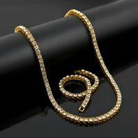 رجل سيدة الذهب والفضة السوداء مقلد الماس الهيب هوب 1 صف بلينغ بلينغ تنس سلسلة قلادة سوار مجموعة