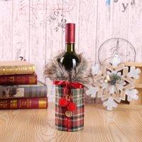 Weihnachtsleinen Button Taschen Bogen Pelzkragen Hairballen Flaschenabdeckung Rotwein Plaid Ornament Dekorationen SHLEVE 2020 Neue Ankunft 4 8mg F2