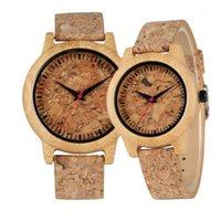 Armbanduhren Riss Corkwood Muster Holz Uhren für Liebhaber Einfache Kreative Echtes Leder Holz Männer Watch Lässige Frauen Uhr Geschenke