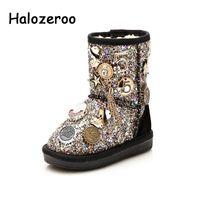 Halozeroo Neue Winter Baby Mädchen Schneeschuhe Kinder Mode Weichstiefel Boy Marke Schwarz Paillettenstiefel Kind Warme Silber Schuhe Y200104