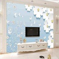 Drop Shipping Custom Mural Stereo Daisy 3d Continental Background Wall Mural Bedroom Hotel Wallpaper Living Room Wallpaper
