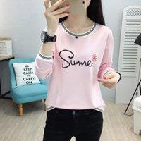 Kadın T-Shirt Biboyamall 2021 Bahar Moda Bayan Rahat Baskılı Uzun Kollu Tişört Bayanlar Kore O Boyun T Shirts1