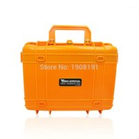 Wholesale- Waterproof Hard Case with foam for Camera Video Equipment Carrying Case Black Orange ABS Plastic Sealed Safety Portable Tool Box1