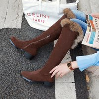 New winter style warm Genuine leather Knee high boots snow boots Women non-slip True fur warm Women shoes Size 34-43