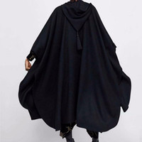 Kış Pelerin Kapüşonlu Trençkot Kalın Yün Kadın Gotik Cape Panço Ceket Açık Hırka Kadın Püskül Uzun Siper Palto