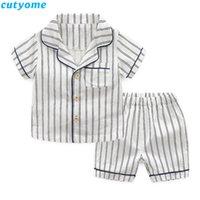 Cutyome Toddler bambini Stripes pigiama di cotone delle ragazze dei ragazzi degli indumenti del vestito camicia + bicchierini 2PCS bambini pigiama bambini coreani vestiti Set C1114