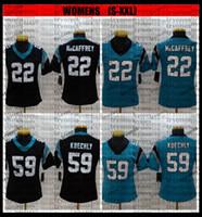 Mulheres 59 Luke Kuechly 22 Christian McCaffrey Jerseys Football Stitched Senhoras Camisas S-XXL Bordado Preto BB6