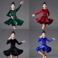 Robes pour enfants pour filles à manches longues Robe de danse latine Velvet Salle de bal de salles de bal de compétition Stage Performance Performance Costumes
