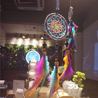Colorful Dreamcatcher Wind Chimes Feather Car Pendant Dream ...