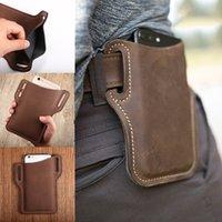 Atualizar New Men Couro Vintage pacote de cintura Saco Clip de cinto de telefone estojo de viagem Caminhadas celular Mobile Phone Caso Belt Pouch Bolsa