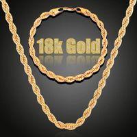 2pcs bijoux ensembles de bijoux torsadés chaîne bracelet hip hop bracelet collier ensemble doré argent couleur couleur hommes colliers colliers bracelet ensemble