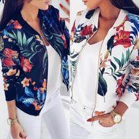 Mujeres chaquetas flor floral estampado retro señoras cremallera arriba corto delgado delgado bomber chaqueta abrigos moda básica casual Outerwear1