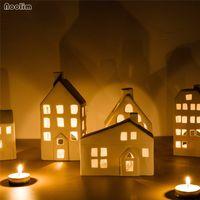 Cerámica nórdica candelabro creativo Casa creativa con forma de vela Romántico Cena de Candlelight Cena Props Home Body Party Decoration T200108