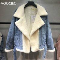 Mulher para baixo parkas voociec outono outono inverno 2021 mulheres lambswool jean casaco com cinto mangas compridas jeans morno outwear largo denim jackle