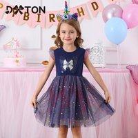 Dxton Sommer Mädchen Kleider Flare Sleeve Prinzessin Kleid Geburtstagsfeier Vestidos Schmetterling Pailletten Kleid Kinder Baumwolle Kleidung LJ200923