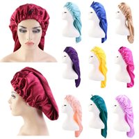 Kadınlar Ekstra Büyük Saten Elastik Uzun Sleep Kap Kıvırcık Saç Bonnet Gevşek Gece Uyku Şapka Elastik Bant Headwrap Katı Renk