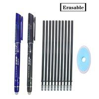 2 + 10Pcs / Set-Gel-Feder 0.5mm löschbare waschbar Griff löschbare Feder Refill Rod Blau Black Ink-Schule-Briefpapier