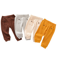 Kids Baby Pocket Trousers Solid Colors Elastic Pants Toddler...