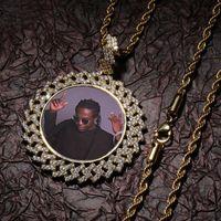 Özel Bellek Fotoğraf Yuvarlak Madalyonlar Kolye DIY Kolye 4mm Tenis Zincir Halat Zincir Altın Gümüş Buzlu Kübik Zirkonya Hip Hop Takı