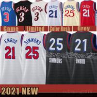 2021 Yeni Joel 21 Embiid Basketbol Jersey Ben 25 Simmons Erkek Allen 3 Iverson Mesh Julius 6 ERVING Retro Ucuz Bej
